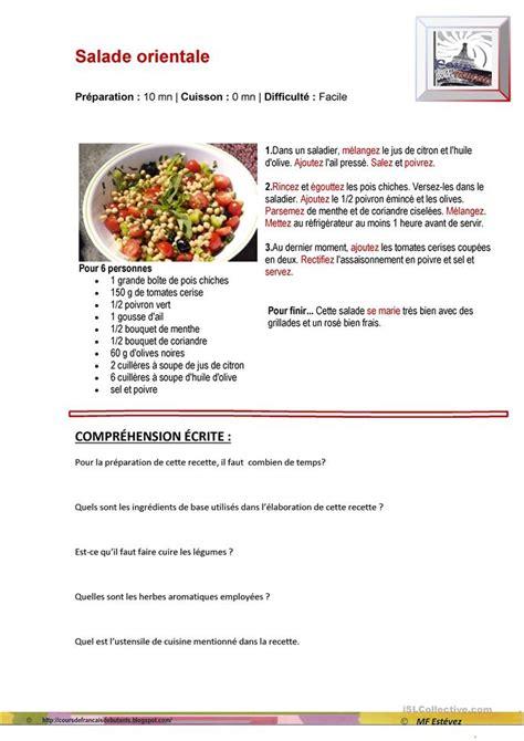 recette de cuisine sur 3 une recette de cuisine fiche d exercices fiches p 233 dagogiques gratuites fle