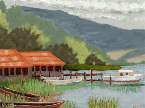 How To Draw A Boat Scene by Boat Scene A Landscape Speedpaint Drawing By Kutedymples