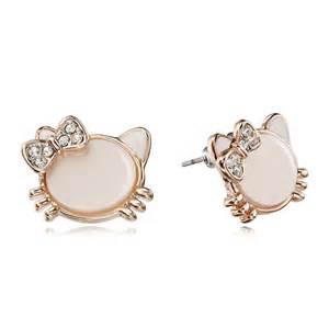 cat earrings cat stud earrings rhinestone bow cat gold gold