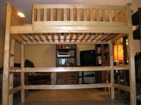 wooden childs college dorm twin size loft bunk bed