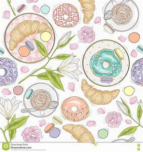 Pastries Seamless Pattern Vector Illustration