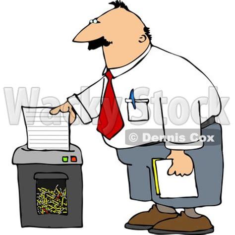 man shredding confidential papers clipart  djart