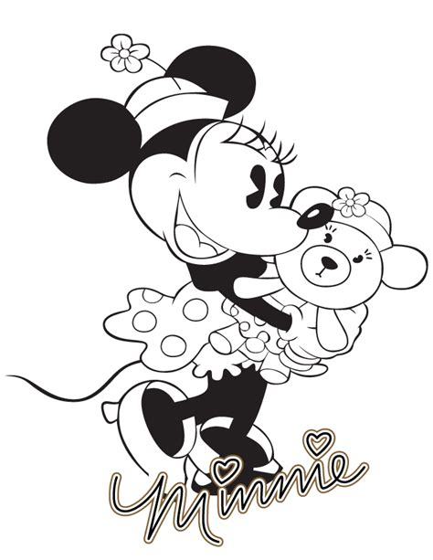 classic minnie mouse  teddy bear coloring page