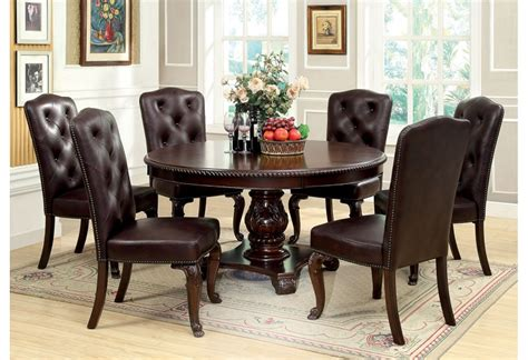 round formal dining table set bellagio round brown cherry finish formal 7 piece dining