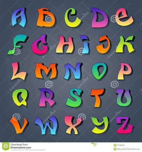 graffiti alphabet colored stock vector image
