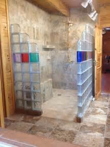 Bathroom Renovation Companies by Glass Block Shower In A Rustic Log Home Collins Georgia