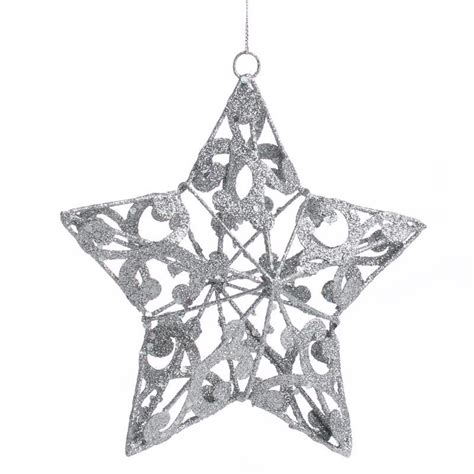 silver glittered star ornament christmas ornaments