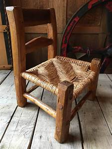 Small, Handmade, Wood, Chair, With, Woven, Seat, Childrens, Chair, Kids, Room, Decor, Kids, Chair