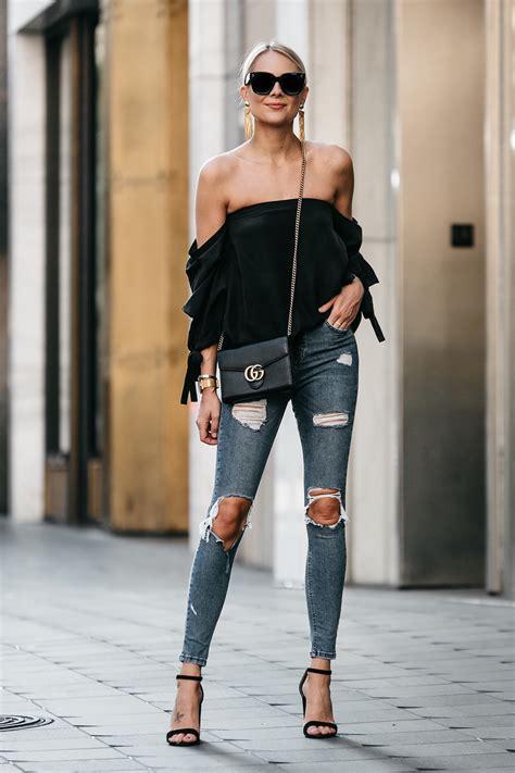chic black   shoulder top fashion jackson