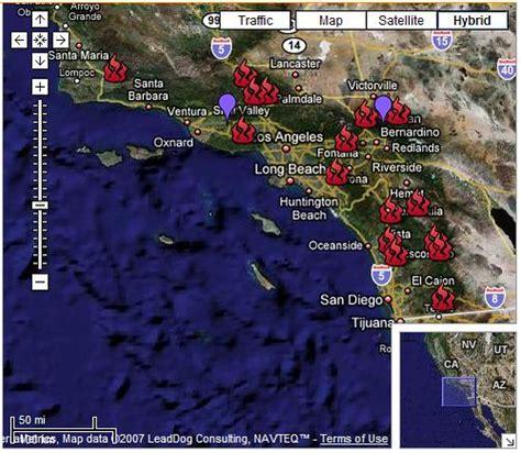 california wildfires map screen grab   google map