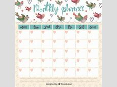 Cute monthly planner with singing birds Vector Premium