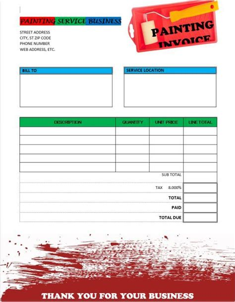 painting invoice template invoice sample invoice