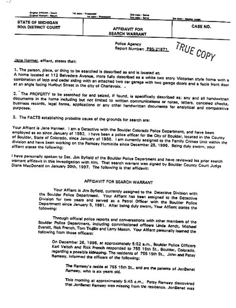 jonbenet ramsey  michigan search warrant  smoking gun