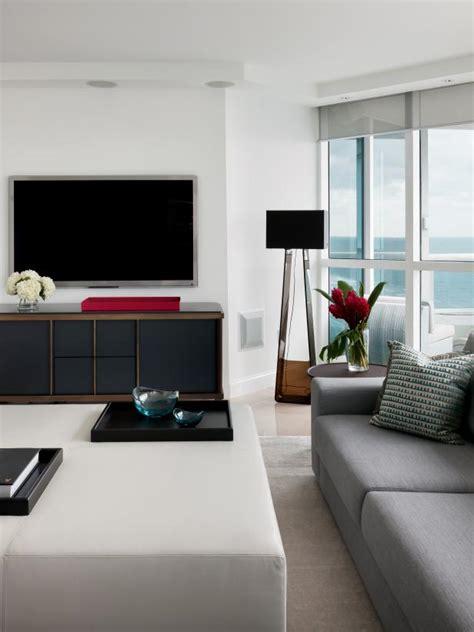 Living Room Furnishings by Modern White Living Room With Sleek Furnishings Hgtv