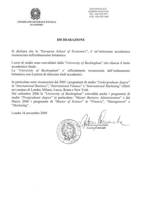 consolato generale italia londra european school of economics rinocoscimento titoli di laurea