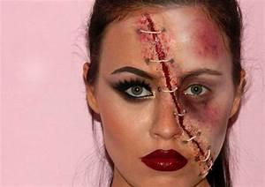 Zombie Schminken Bilder : halloween gesichter schminken wunden make up anleitung naht garn halloween halloween ~ Frokenaadalensverden.com Haus und Dekorationen