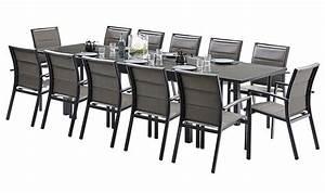 Table De Jardin Aluminium 12 Personnes : salon de jardin gris 12 fauteuils en aluminium et verre tremp ~ Edinachiropracticcenter.com Idées de Décoration