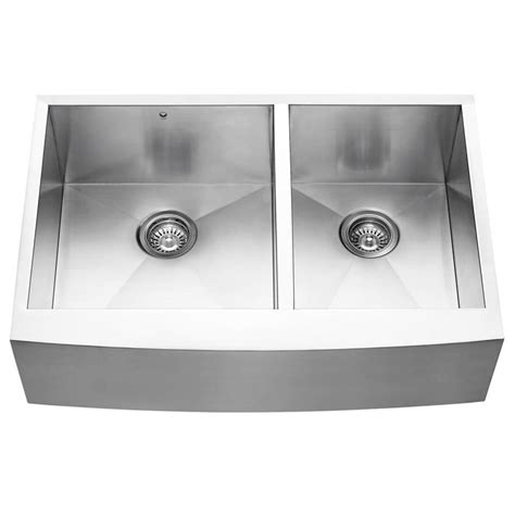 stainless steel farmhouse sink lowes shop vigo 33 in x 22 25 in stainless steel double basin