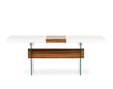 high gloss dining room tables white and walnut extendable dining table vg001 modern dining