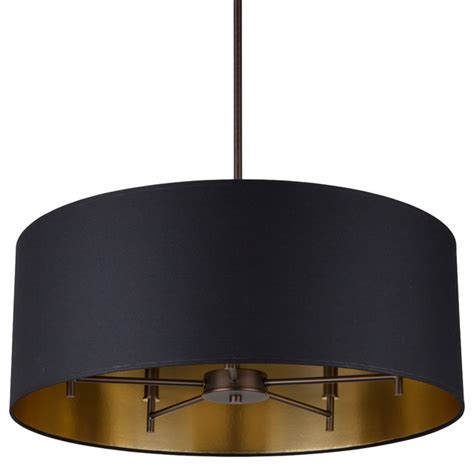 walker 5 arm chandelier rubbed bronze with black and