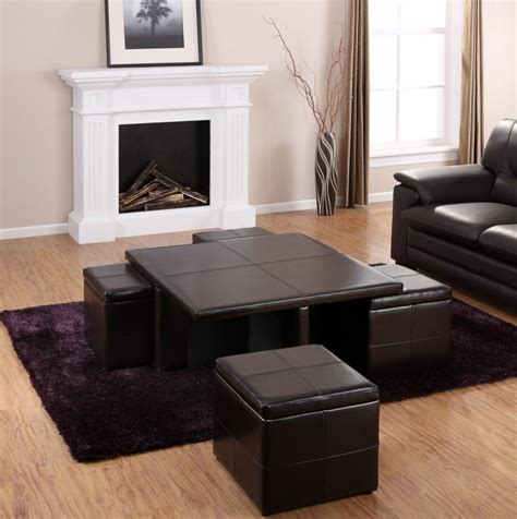 Pull out the ottomans fitted under the table top will save you a lot of space, and the round form of the whole adds an interior of an interesting expression. Coffee Table With Pull Out Ottomans   Roy Home Design
