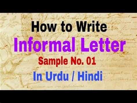 writing letter informal letter sample   urdu hindi