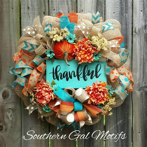 turquoise orange thankful fall wreath fall halloween wreaths fall decor fall wreaths