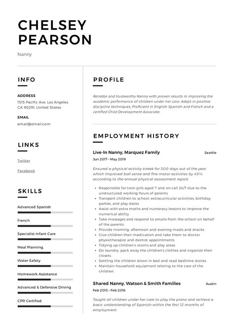 Your resume should consider the needs of potential employers, and this one showcases transferable skills in quality assurance, training, and leadership. Nanny Resume & Writing Guide   +12 TEMPLATE SAMPLES   PDF