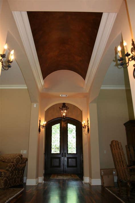 foyer barrel ceiling metalic faux finish mural idea by