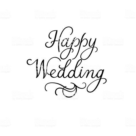 typography template happy wedding modern calligraphy inscription wedding typography templates stock vector