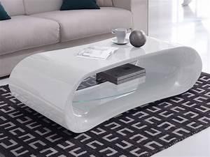 Table Salon Blanche : table basse design en verre longueur 130cm hayle blanc ~ Teatrodelosmanantiales.com Idées de Décoration