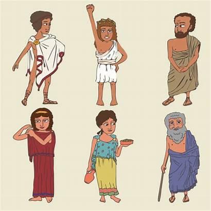 Greek Ancient Vector Greece Clip Illustrations Greeks