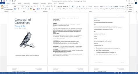 concept  operations template ms word templates