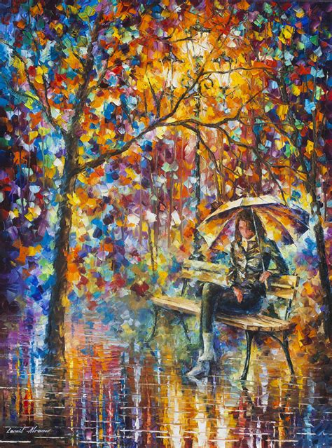 waiting in the rain palette knife oil painting on canvas