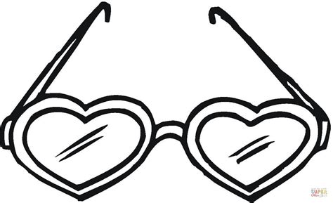Heart Shaped Sunglasses Coloring Page