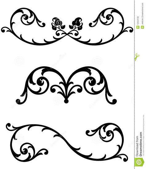 floral scroll  rules stock photo image