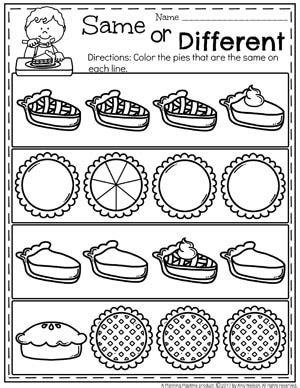 preschool thanksgiving activities planning playtime 560 | Preschool Thanksgiving Worksheets Same or Different Pies