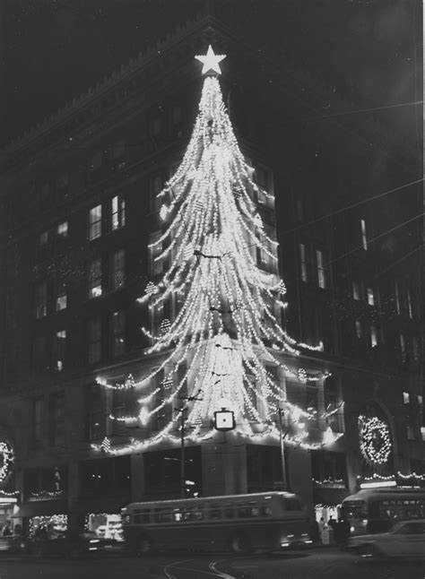 a trolley passes the christmas tree that adorned a