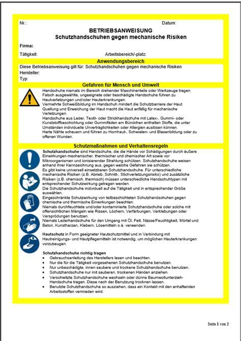 betriebsanweisung schutzhandschuhe gegen mechanische