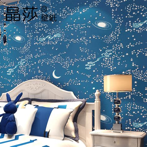 modern boys bedroom baby wallpaper  woven blue sky star