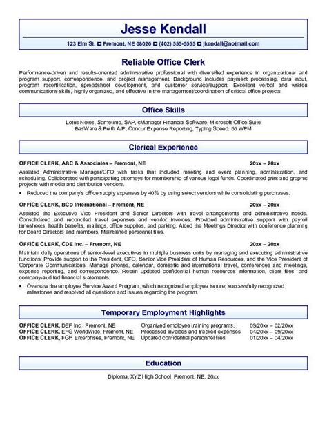Office Clerical Resume by Administrative Clerical Sle Resume Haadyaooverbayresort