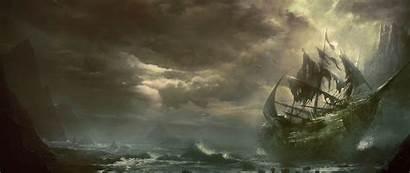 Ship Mountains Destroyed Sea Dragones Zona Sailboat