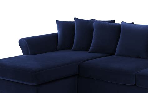chaise navy arendal modern large velvet sectional sofa w wide chaise