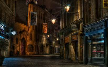 Street Night Urban Lights Empty Building Architecture