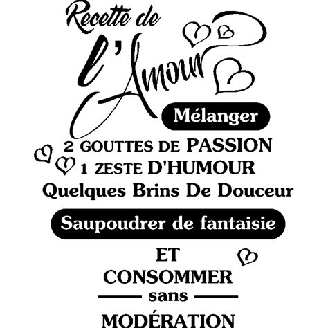 stickers recette cuisine sticker citation recette de l 39 amour stickers citations