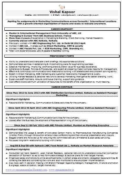 resume sle for marketing market research 1 career