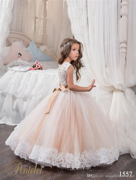 cheap ball gown flower girl dresses jewel lace