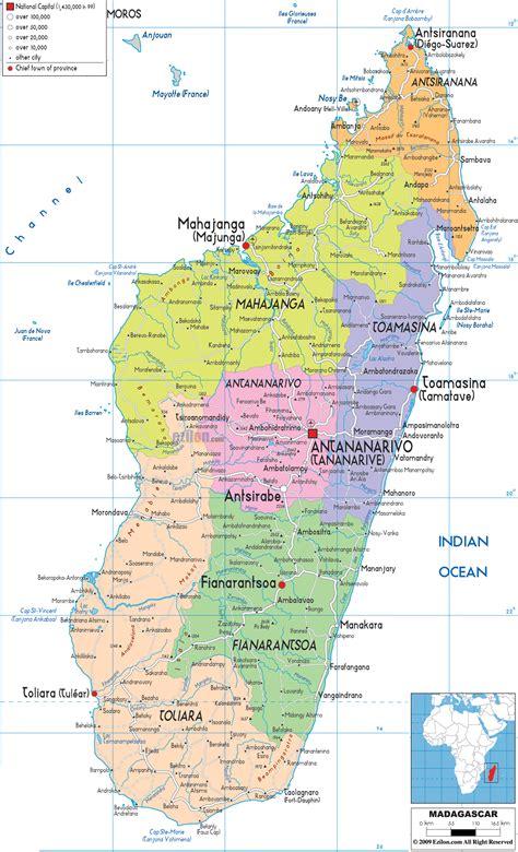 political map  madagascar ezilon maps