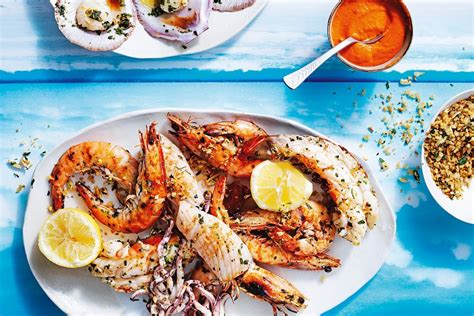 cuisine easy grilled seafood platter with romesco sauce and herb crumbs