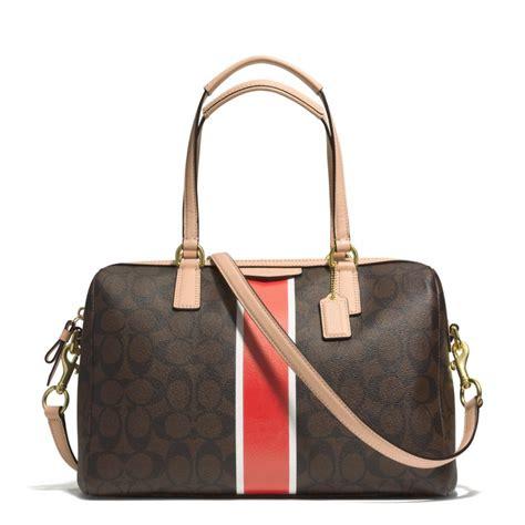 coach signature stripe nancy satchel handbag